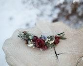 Floral quarter wreath Romantic wedding quarter wreath Quarter wreath with roses Hair accessories Wedding hair accessories