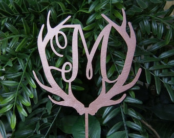 Personalized Monogram Cake Topper - Wedding - Anniversary - Valentine Day Cake Topper, Wedding Ceterpiece - Photo Prop - Rustic Chic Wedding