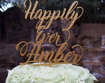 Happily Ever Family Name Personalized Cake Topper - Wedding - Anniversary Cake Topper, Wedding Keepsake, Gift for Couple, Photo Prop, Rustic