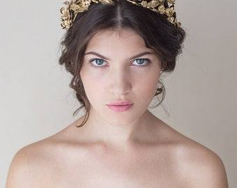 Gold blossoms headpiece. Bridal crown. Floral crown. Bridal headpiece. Wedding headpiece. Boho golden headpiece. Style 714