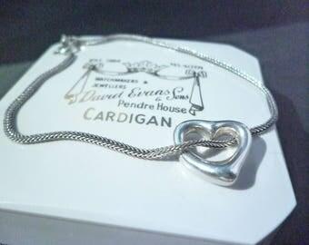 """Vintage silver love heart bracelet - 925 - sterling silver - Heart charm - 7"""""""