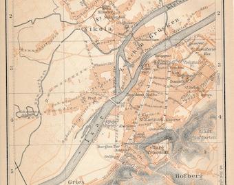 1910 Landshut Germany Antique Map