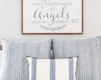 Christian wood sign Be not forgetful of hospitality for by it some have enteratined angels unaware Hebrews 13:2 distressed framed wood sign
