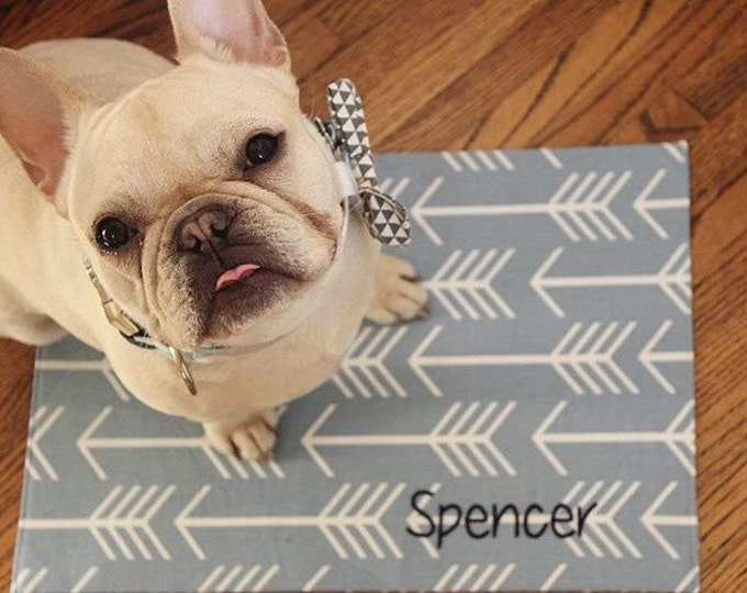 Featured listing image: Personalized Pet Placemat || Dog Food + Water Bowl Mat || Puppy Dog Gift || Custom Feeding Station by Three Spoiled Dogs