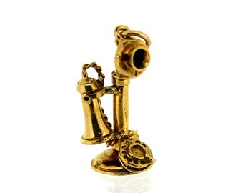 Vintage Gold Charm - 9ct Gold Antique Telephone Charm - Vintage 9ct Gold Charm