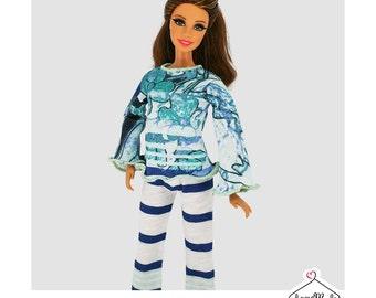 Barbie Pajamas Set - Striped Pajamas-Handmade Barbie Clothes by Lovemade- Fashion Doll Clothes-Dolls Sleepwear