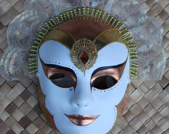 Copper and Gold Guilded Maquerade Mask with lace headress