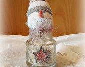 "Glass Shaker Snowman, Glass Snowman Assemblage, Glitter Snowman Decoration, ""Makayla"" Snow Lady, Christmas Collectible, Original"