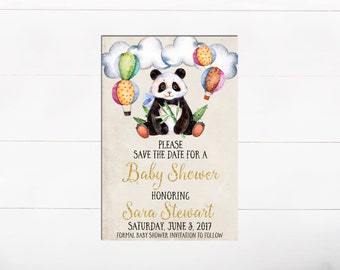 Panda Baby Shower Save The Date Invitation Watercolor Floral Balloon Invitation Clouds Balloon Gold Glitter Save the Date Baby Shower