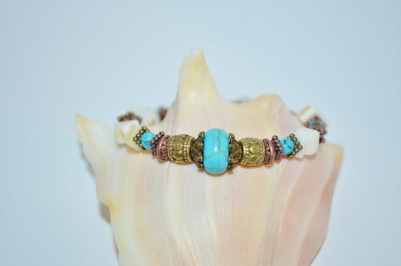Bracelet Mother of Pearl Turquoise & Wood Bead, Shell and Turquoise Bracelet, Wood Bead and Shell Bracelet, Turquoise Bracelet