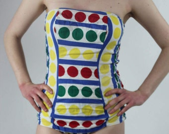 Vintage 1950s Spotted Bathing Suit // red, green, yellow polka dots