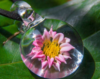 Glass Lotus Pendant - Yoga Jewelry - Zen Pendant - Zen Jewelry - Zen Necklace - Christmas Idea - Stocking Stuffer - Christmas Jewelry