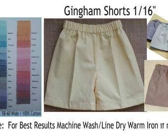 Shorts Gingham Shorts 37 colors to choose from Embroidery Blank Lined Elasticized Waist MTO