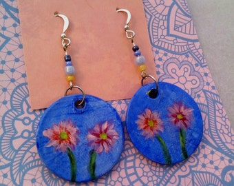 Dangle earrings Drop earrings Blue flower earrings handmade earrings with painted flowers Ceramic clay dangle earrings with flowers