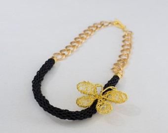 Butterfly Necklace, Black Necklace, Black tubular knitted necklace, Golden Butterfly necklace, Wired butterfly,