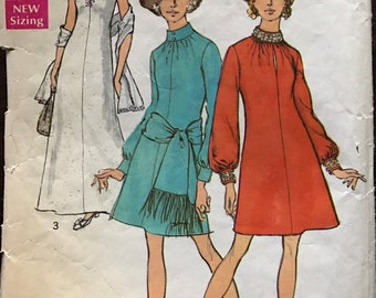 Simplicity 8540 - 1960s Above Knee or Maxi Length Dress with Center Seam and Stand Up Collar - Size 16 Bust 38