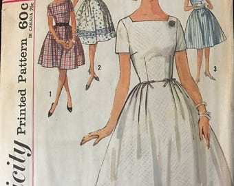 Simplicity 5003 - 1960s Dress with Square Neck and Full Skirt with Pleat - Size 14 Bust 34