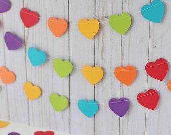 Rainbow heart garland, Heart garland, Pride party decor, Valentine's garland, Mini heart garland, Rainbow birthday, Gay pride photo prop