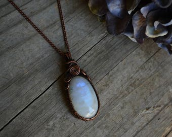 Wire Wrapped Lunar Goddess Moonstone and Oxidized Copper Necklace