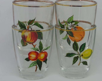 Fruit Design Shot Glasses, Set of Four Vintage Drinking Glasses