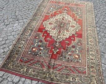 oushak vintage rug, rug turkish, oushak vintage floor rug, moroccan rug,259