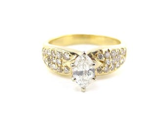 14k Yellow Gold Diamond Engagement Ring Size 6 1/4 1.00 carat - Marquise Diamond