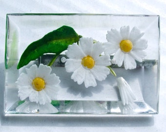 SWEET reverse painted LUCITE 3 DAISY pin ~lovely vintage costume jewelry.