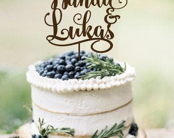 Wedding Cake Topper Names  Rustic Cake Topper  Wooden  Cake Topper Silver Gold Wedding Topper Personalized Cake topper