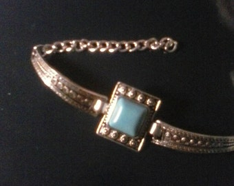 Silver, faux, turquoise, simulated silver clasp bracelet, Free shipping