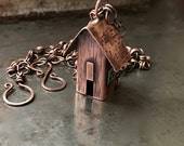 Copper cabin necklace, rustic hand forged pendant, handmade chain