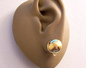 Monet Mirror Discs Clip On Earrings Gold Tone Vintage Round Thick Coin Buttons