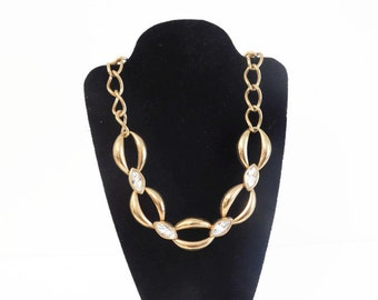 Vintage Gold Tone Chunky Chain Necklace Featuring Marquis Shaped Rhinestones - Vintage Gold Tone Necklaces, Vintage Necklaces