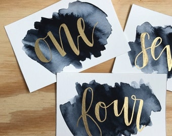 Watercolor Wedding Table Numbers - Hand Lettered - Gold and Watercolor