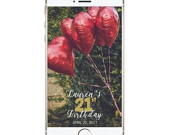Snapchat Geofilter Birthday, Snapchat Birthday Geofilter, 21st Birthday, Gift for Her, Birthday Filter, Birthday Party, Personalized filter