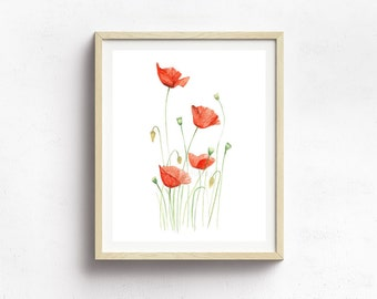 Poppy Flower Print - Botanical Print - Nursery Decor - Flower Illustration - Botanical Illustration Art - Wildflower Art Print - Floral Art