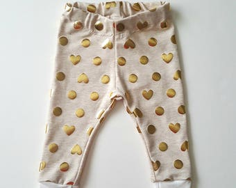 Baby leggings, baby girl clothes, gold heart baby leggings, trendy baby clothes, baby gift, gold baby girl clothes, new mom gift