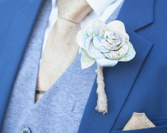 Paper Rose Boutonnierre with map graphics, Wedding Special Occasion, Suit accessory