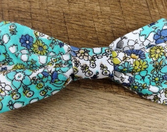 Large HAIR BOW Light Blue FLORAL