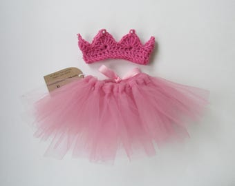 Pearled crown and baby tutu~Newborn-3 months-Tulle tie back skirt for baby photography props. Your choice of colors.  Free Shipping