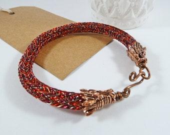 Red Dragon Bracelet, Daenerys Style Jewelry, Dragon Gift, Copper, Woven Wire, Wirework, MEDIUM, Dragon Heads, Fantasy, Viking Knit Bracelet