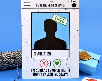 Funny Boyfriend Tinder Card - Personalised - 'I'm so glad I swiped Right' - Love - Christmas - Valentine's