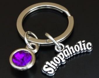 Shopaholic Keychain, Custom Keychain, Custom Key Ring, Shopaholic Pendant, Shopaholic Charm, Shopaholic Jewelry, Shopping Keychain, Shopper