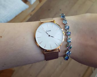 iris rainbow glass tennis bracelet - vintage bracelet
