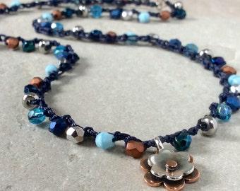 Blue necklace, beaded necklaces, crochet necklace, boho necklace, statement necklace, beaded necklace, flower necklace, boho jewelry