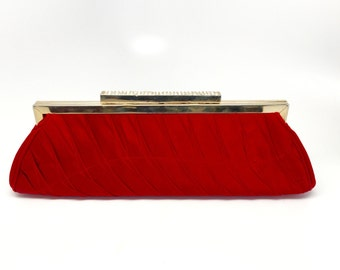 Vintage Red Satin Clutch Purse - Red Satin Rhinestones Clutch - Red Glitter Evening Bag - Long Red Clutch - 60s Red Satin Pleated Purse