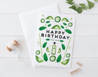 Gin Gin Birthday Card A6