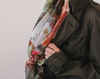 Hand painted Silk Scarf in Autumn colors, silk foulard