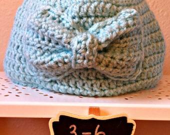 Infant Bow Hat 3-6 Months Aquamarine