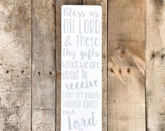 Bless Us Oh Lord Dinner/Meal Prayer Hand Painted Wooden Sign