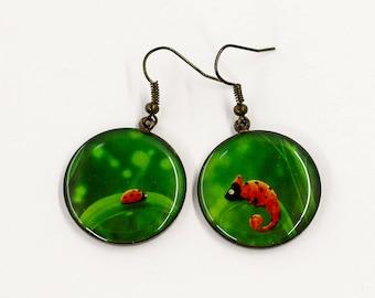 Green earrings Ladybug earrings Different earrings Resin earrings Fashion jewelry Funny gift for her birthday gift for girlfriend gift women